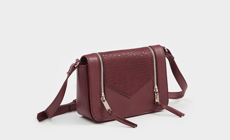 Kleine boxy Tasche mit Reißverschluss Granatrot