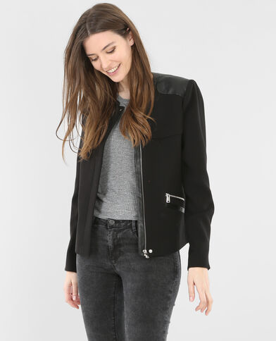 Gerade Jacke aus Materialmix Schwarz