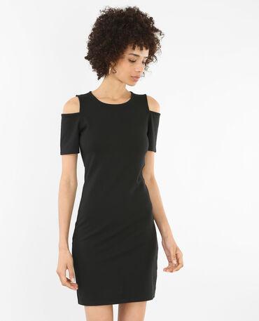 Bodycon-Kleid mit Peekaboo-Ärmeln Schwarz