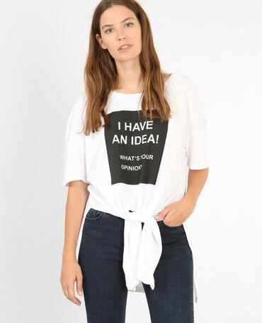 Langes T-Shirt zum Binden Naturweiß
