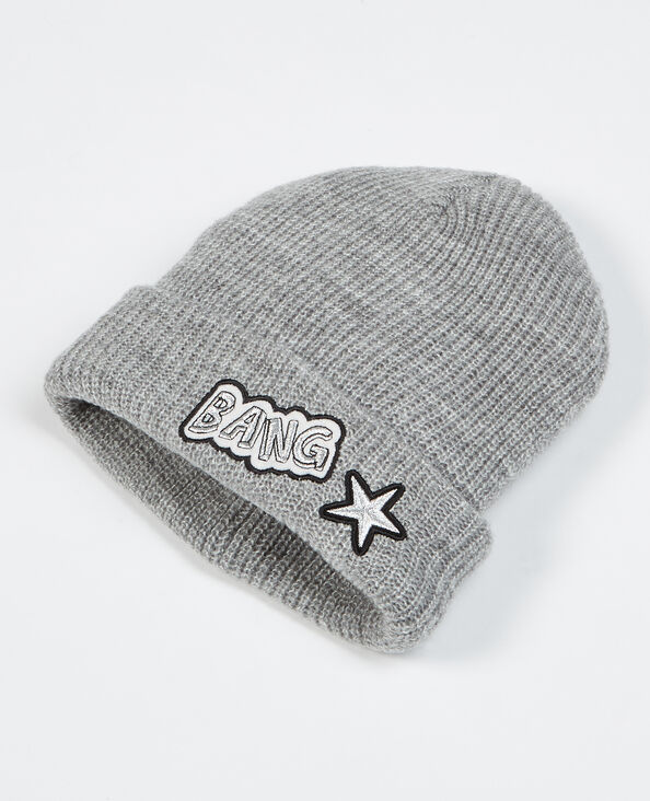 Bonnet avec patch gris