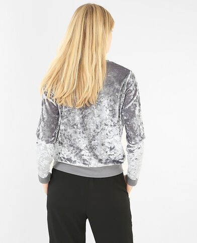 Sweat velours gris perle