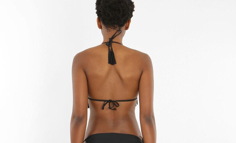 Geborduurde triangelbikini met franjes zwart
