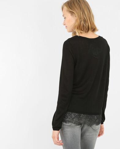Leichter Pullover mit Spitze Schwarz