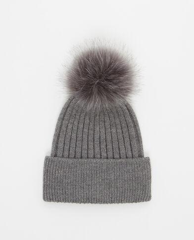 Mütze mit Pompon Dunkelgrau