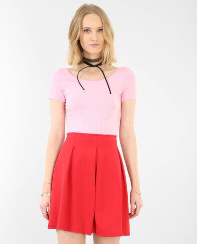 Cropped-T-Shirt aus Rippen-Jersey Rosa