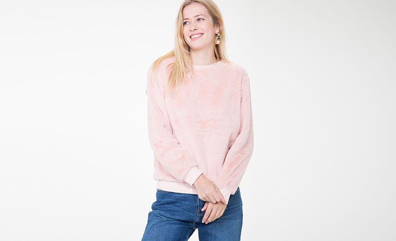 Sweatshirt aus Kunstfell Rosa