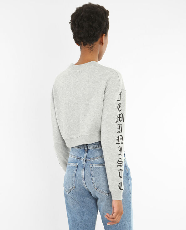 Sweat cropped message manches gris chiné
