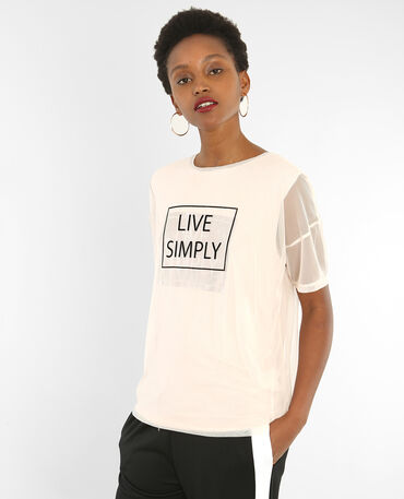 T-shirt con messaggio 2 in 1 Rosa