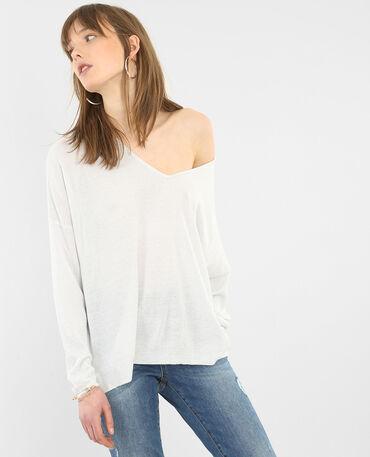 Jersey lúrex cuello de pico blanco