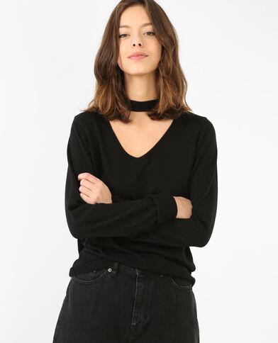 Leichter Pullover mit Choker-Kragen Schwarz