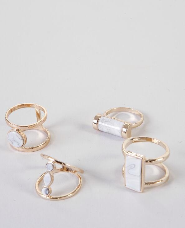 Set marmorierte Ringe Gold