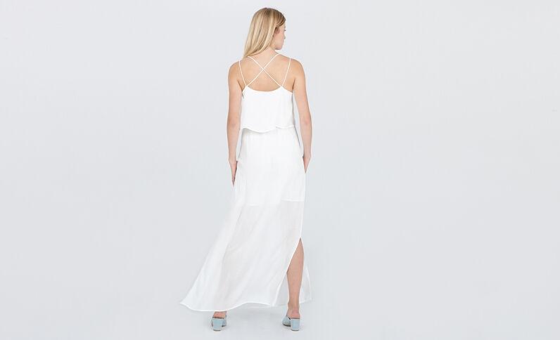 Lange jurk met gekruiste rug gebroken wit