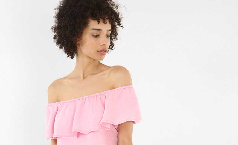 Blusa volante escote bardot rosa