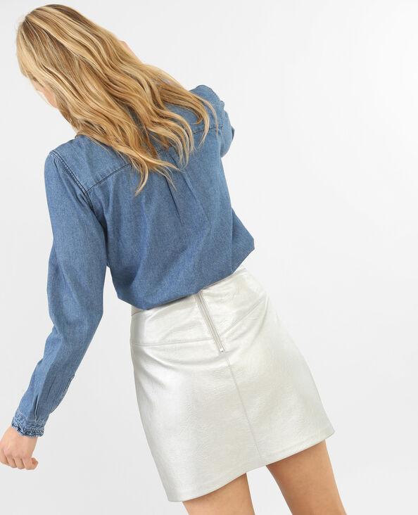 Jeanshemd mit Rüschen Blau