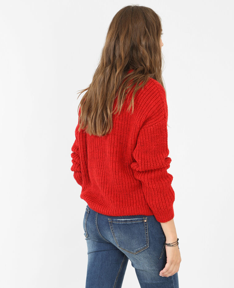 Pull grosse maille rouge