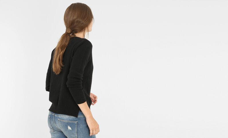 Jersey con cuello de perlas rocalla negro