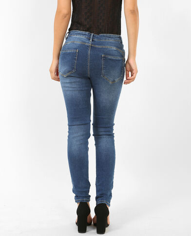 Push-up skinny denimblauw