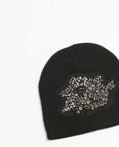 Mütze mit Schmuck-Applikation Schwarz