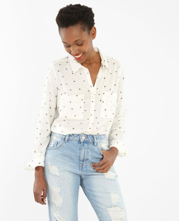Bedruckte Bluse aus weich fließendem Material Altweiß