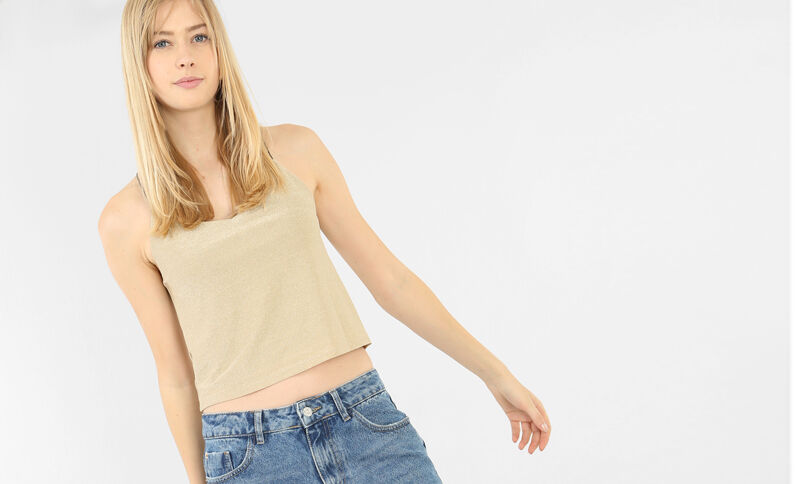 Top cropped lurex Beige