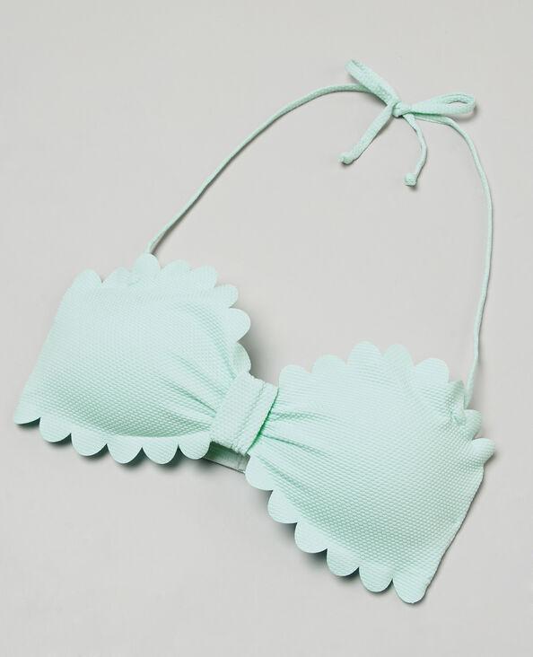 Bandeau-Bikinioberteil mit Blütenmotiv Türkis