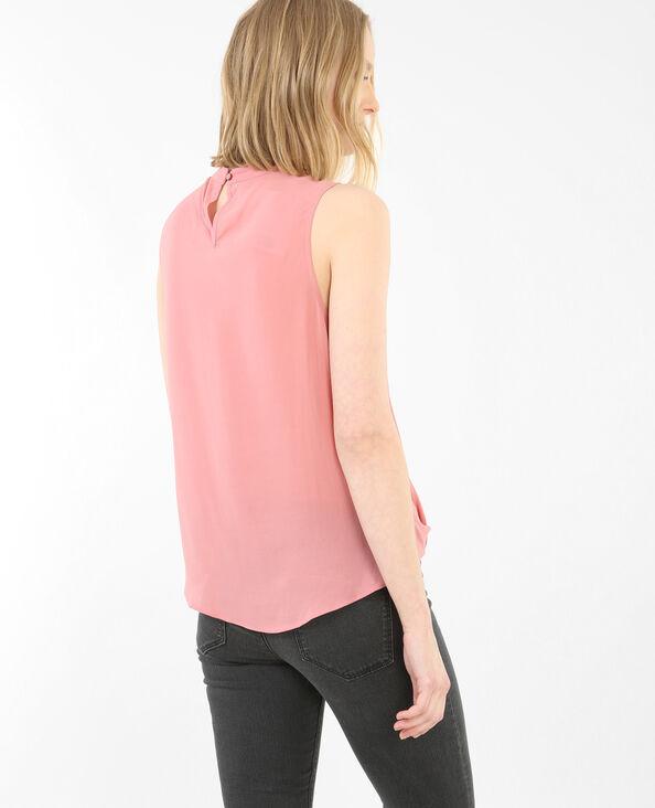 Top incrociato collo choker rosa