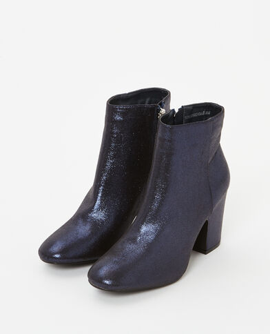Botines de tacón irisados azul