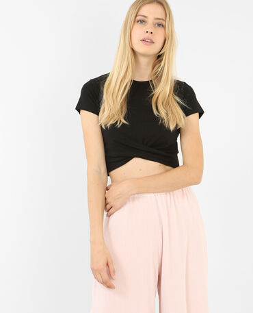 Cropped top twisté noir