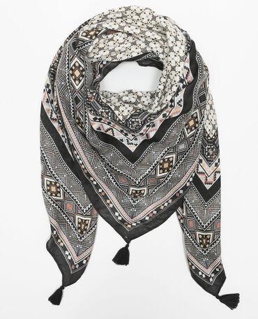 Foulard  ethnique pompons gris anthracite