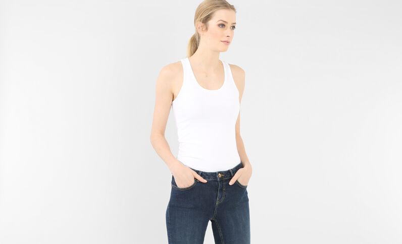 Camiseta de tirantes básica con espalda olímpica marfil