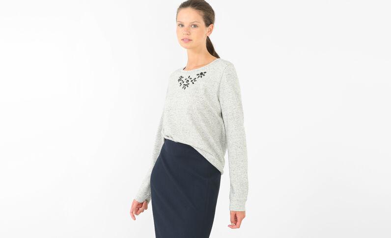 Sweatshirt mit Schmuck Grau