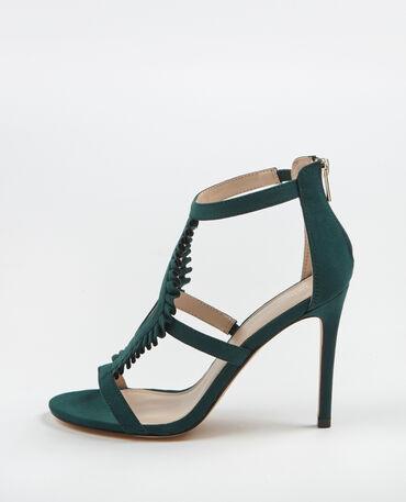 Sandaletten mit hohen Absätzen Tannengrün