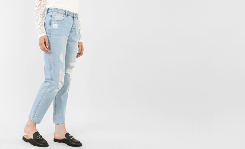 Destroyed Mom-Jeans Blau