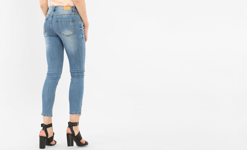 Skinny-Jeans mit Reißverschluss Denimblau