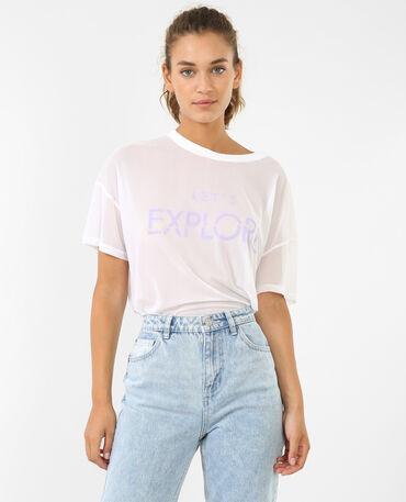 T-shirt résille écru