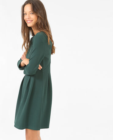 Robe patineuse manches 3/4 vert