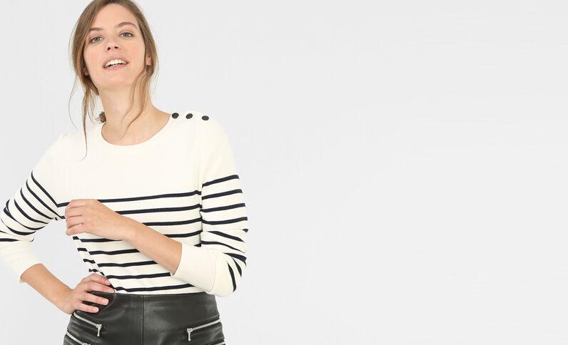 Pullover im Matrosen-Stil Altweiß