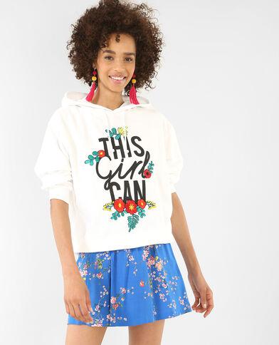 Kapuzen-Sweatshirt mit Stickereien Weiß