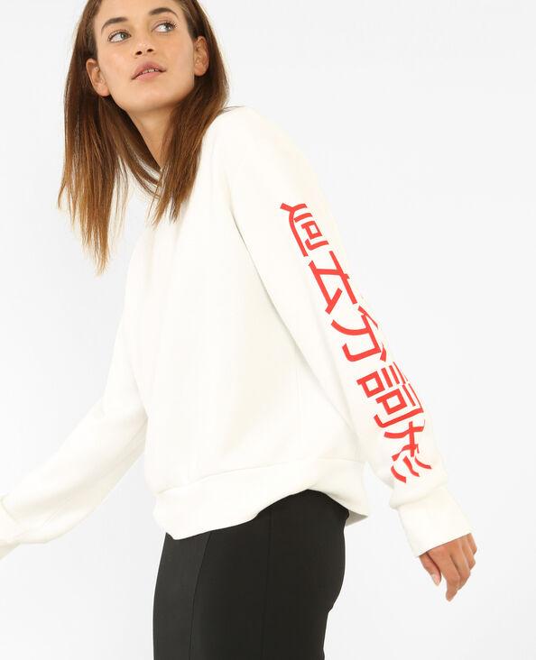 Sweatshirt mit Aufschrift Weiß