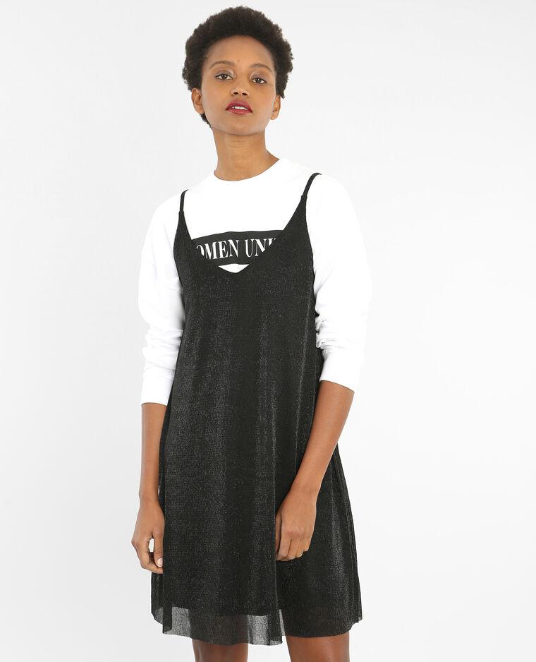 Fließendes Kleid mit Lurex Schwarz
