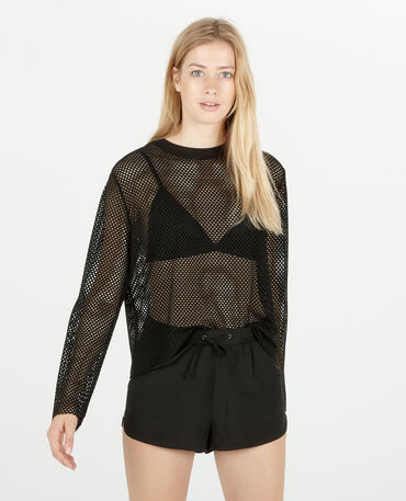 Sport-T-shirt met nettricot zwart