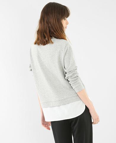 Felpa ricamata parte bassa a camicia grigio chiné