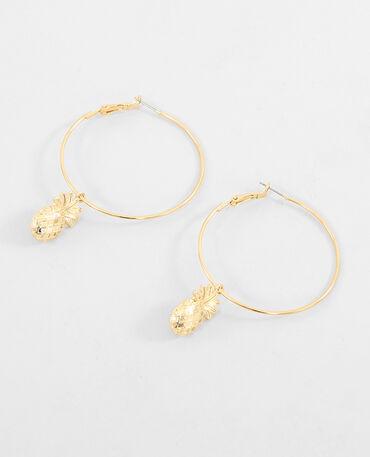 Boucles d'oreilles créoles ananas doré