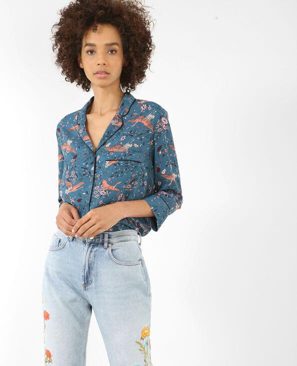 Hemd in pyjamastijl eendenblauw