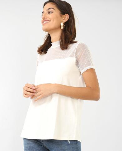 T-shirt van tule gebroken wit