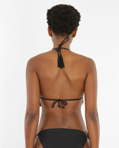Triangel-Bikinioberteil mit Fransen Schwarz