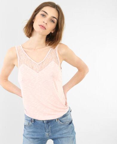 Topje met kraag van kant Roze