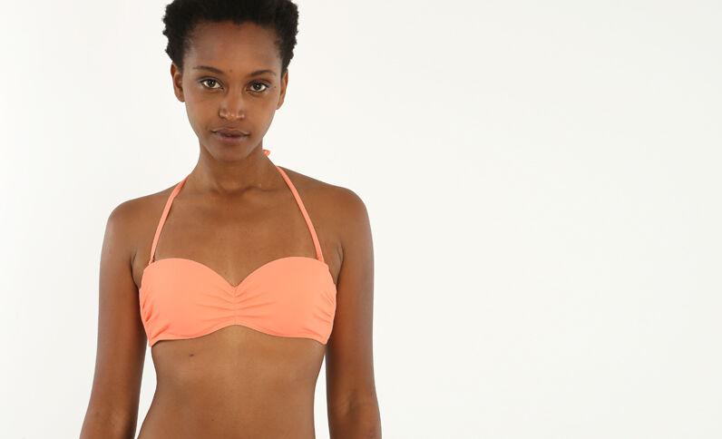 Bandeau-Bikinioberteil aus Waben-Jersey Pfirsichfarben
