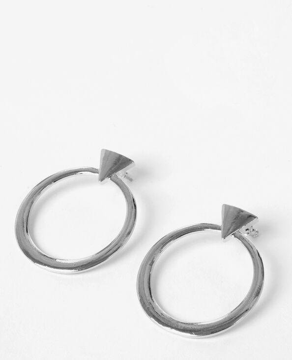 Boucles d'oreilles géométriques gris argenté